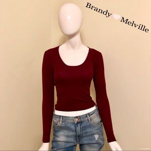 EUC - Brandy Melville - Burgundy Crop Top - OS
